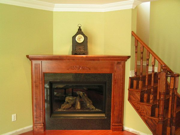 Wood colored mantel
