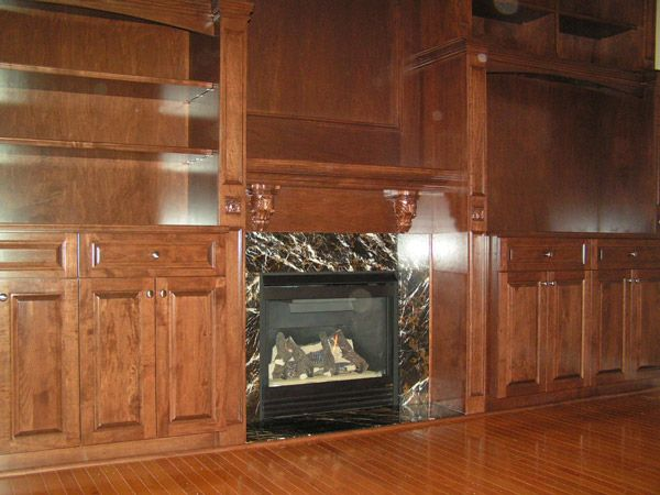fireplace and shelves