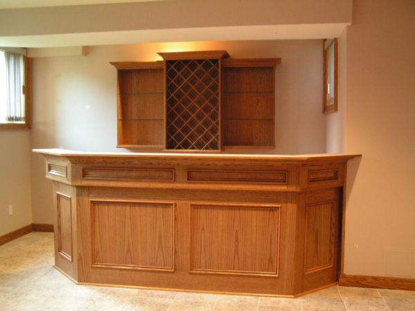 custom bar with storage shelves