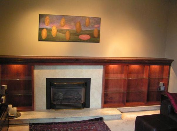 display shelves around fireplace